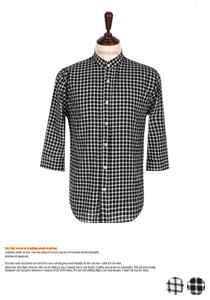 댄디한 헨리넥 체크 7부셔츠