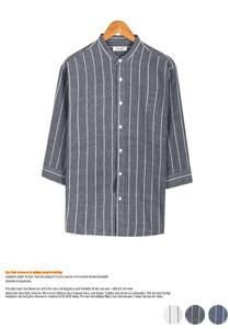 깔끔한 패턴의 스트라이프 헨리넥 셔츠
